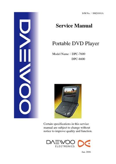 Daewoo Dpc  8600 Dvd Portable Player  Service Manual  Repair Schematics