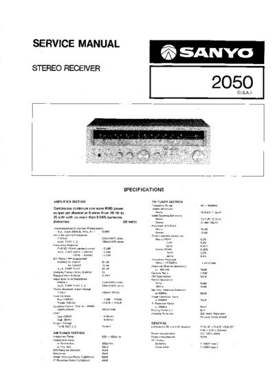 sanyo 2050  service manual  repair schematics