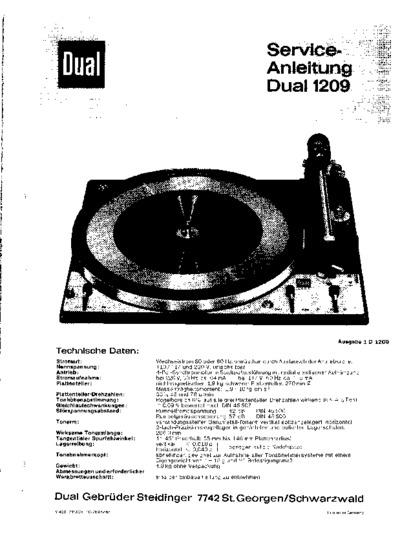 Dual 1209  Service Manual  Repair Schematics
