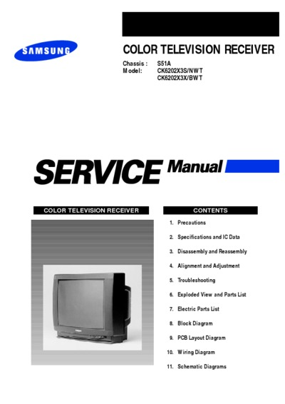 Samsung Ck6202x3s  Ck6202x3x Chassis S51a  Service Manual