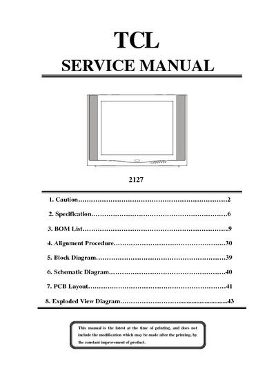 Tcl 2127  Service Manual  Repair Schematics