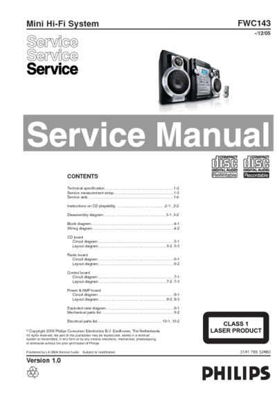 philips fwc143  service manual  repair schematics