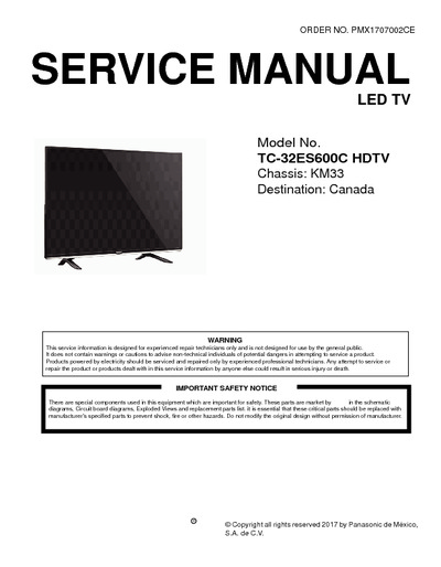 panasonic tc 32ec600c chassis km33 service manual repair. Black Bedroom Furniture Sets. Home Design Ideas