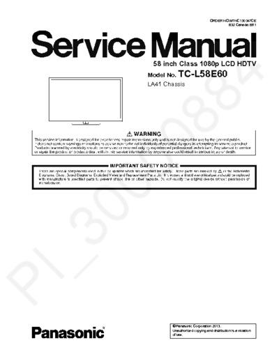 panasonic tc l58e60 chassis la41 service manual repair. Black Bedroom Furniture Sets. Home Design Ideas