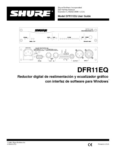 Shure Dfr3 User Guide  Service Manual  Repair Schematics