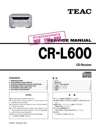 Teac CR-L600, Service Manual, Repair Schematics