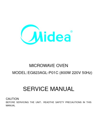 Midea MWW23DG Microwave, Service Manual, Repair Schematics
