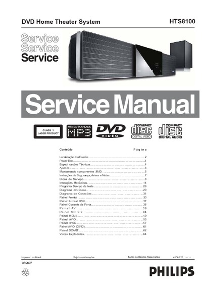 philips hts8100 service manual repair schematics rh electronica pt com Philips Soundbar DVD Philips Soundbar DVD