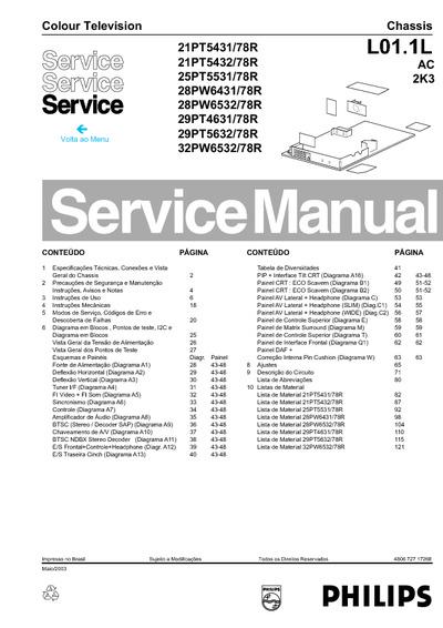 Magnavox 29mt4515  78r  Chassis  L01 1l Ac 2k3  Service