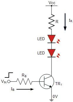 ligação multiplos led com transistor