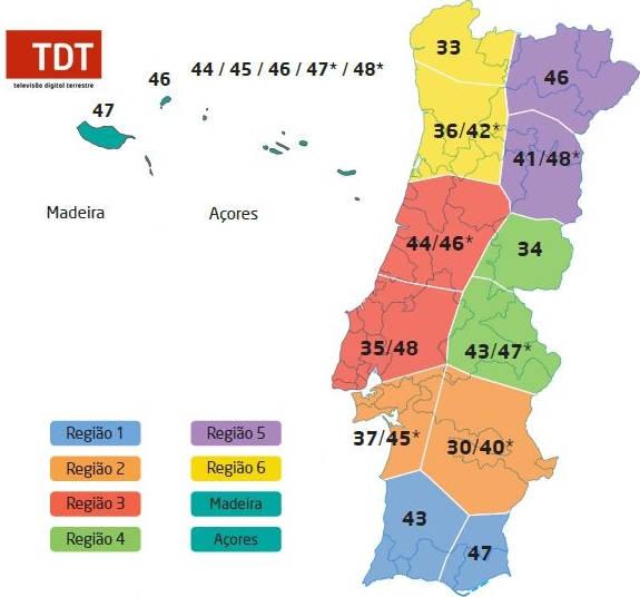 Mapa Dos Emissores Tdt Cobertura Tdt Portugal Acores E Madeira