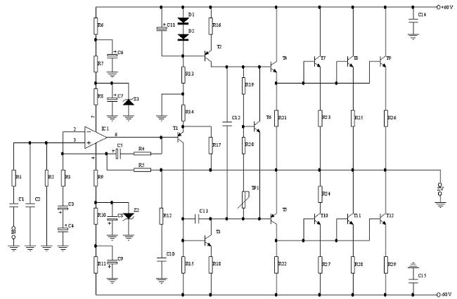 500 Watt Transistor Amplifier Circuit Diagram