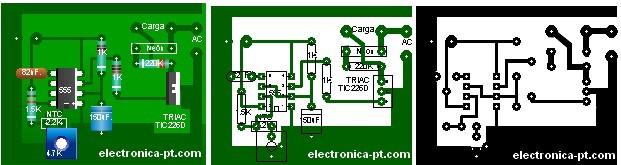 termostato electrónico, PCB placa de circuito impresso (37K)