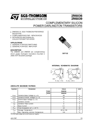 (COMPLEMENTARY SILICON POWER DARLINGTON TRANSISTORS)